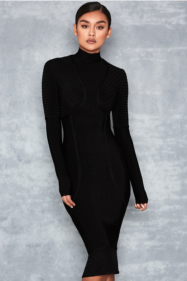 Machismo Black Ribbed Bandage Midi Dress