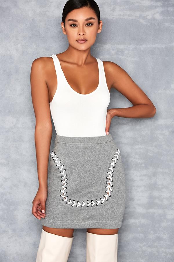 Merci Grey Lace Up Mini Skirt