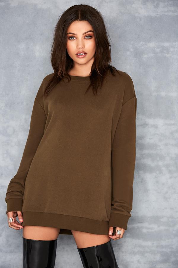 Yas Khaki Oversized Sweatshirt
