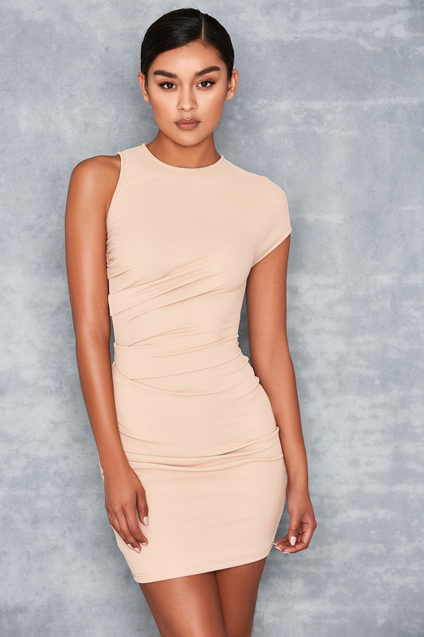 'Yunita' Beige Asymmetric Drape Dress