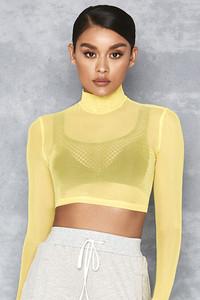 Angel Face Yellow Sheer Mesh Long Sleeved Top