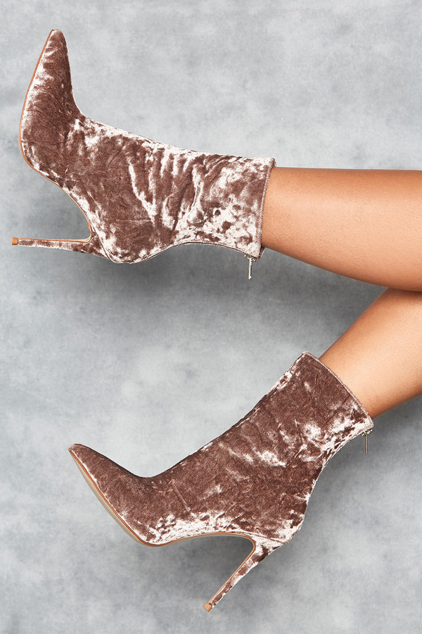 Closure Mink Crushed Velvet Bootie