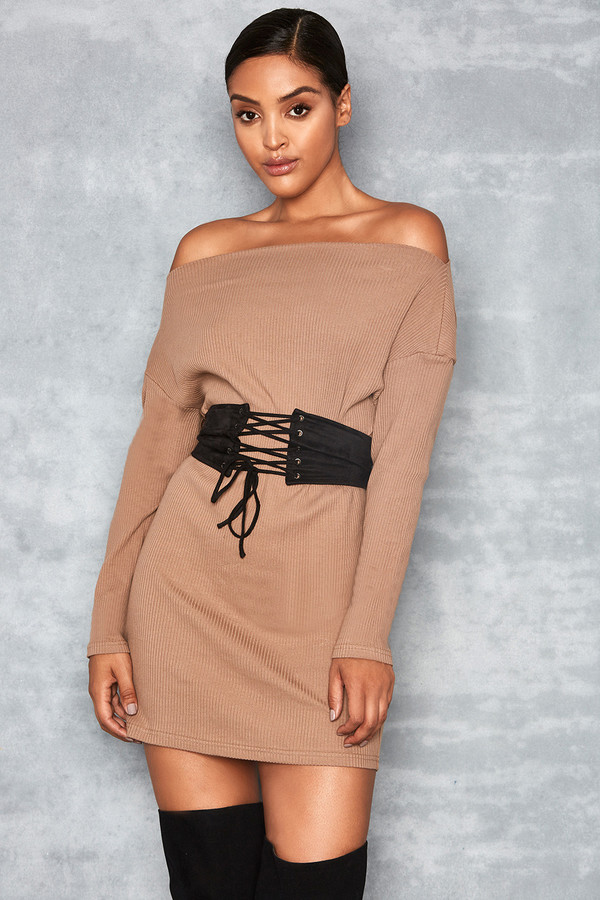 Illuminate Fawn Corseted Rib Off Shoulder Dress